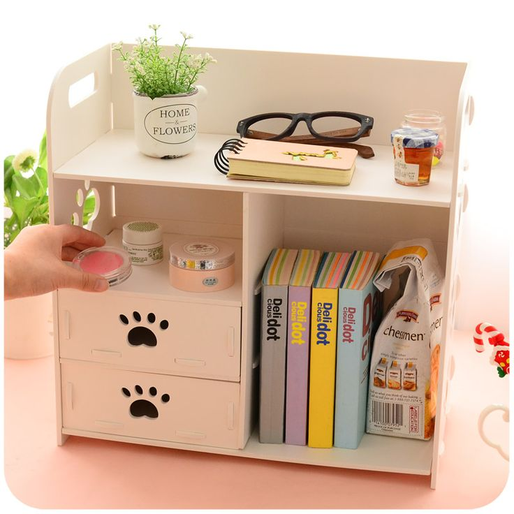 DIY Modern White Wooden Storage Box Desk Organizer For Cosmetics,Desktop Storage Shelf Cabinet Wood Makeup Organizer Drawers