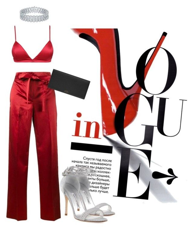 """""""Red"""" by maria-raniela on Polyvore featuring Helmut Lang, Manolo Blahnik and Smythson"""