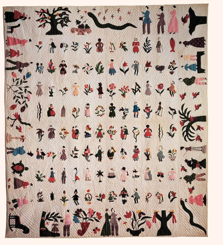 """1850: """"Asylum quilt"""" attributed to a young single mother who was hospitalized in the asylum at Catonsville Maryland. Depict a wide variety of people, birds, foliage, creatures, done in fine applique - look at closeups. (Referenced in an exhibit (?) by the National Library of Naples, Italy in 2005, said to belong to America Hurrah Antiques in NYC)"""