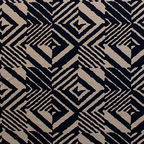Ethnic Black Geo Squares on Mocha Cotton Spandex Knit Fabric :: $6.50