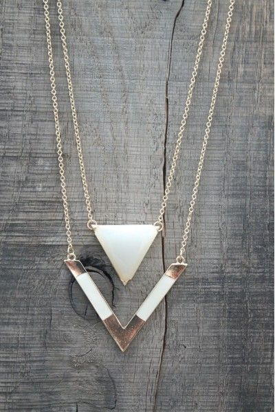 Triangle Double Layer Necklace!