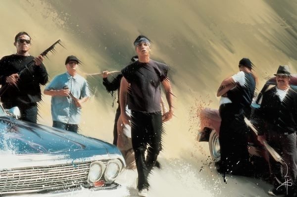 Vatos locos truchas pinterest movies film and blood for Blood in blood out mural la river