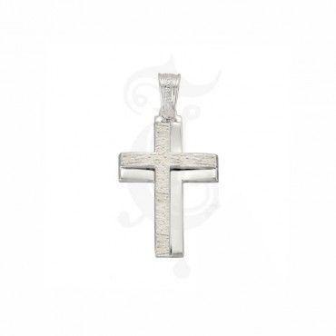Νέος σταυρός βάπτισης ΤΡΙΆΝΤΟΣ για αγόρια λευκόχρυσος Κ14 με ματ φινίρισμα στο πλάι του | Βαπτιστικοί σταυροί ΤΡΙΑΝΤΟΣ 2016 ΤΣΑΛΔΑΡΗΣ στο Χαλάνδρι #τριαντος #ανδρικο #βαφτιση #λευκοχρυσο #σταυρος