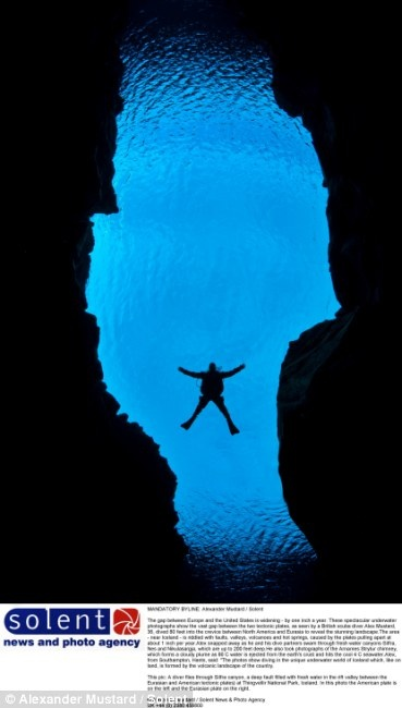 The gap between Europe and the United States is getting bigger by one inch annually. The gap can clearly be seen in this photo of Alex Mustard, a British scuba diver who is swimming through Silfra canyon. The canyon is a deep fault, filled with fresh water in the rift valley between the Eurasian and North American tectonic plates, at Thingvellir National Park, Iceland.  The North American plate is on the left and the Eurasian plate on the right.