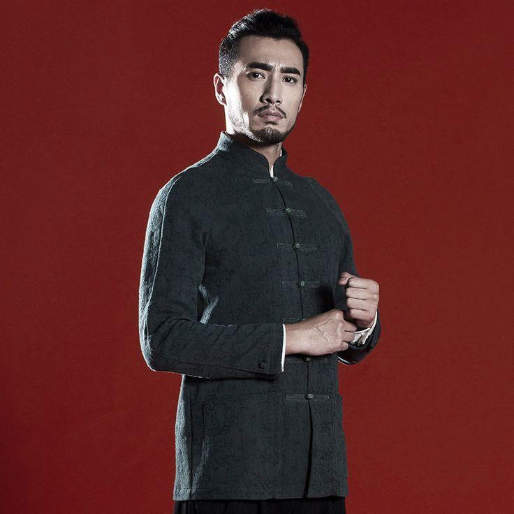 Casual col mandarin chinois Veste en coton traditionnel pour hommes