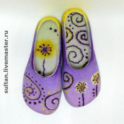 """""""Фиолетовый цвет"""", войлочные домашние тапочки - войлочные тапочки,валяные тапочки"""