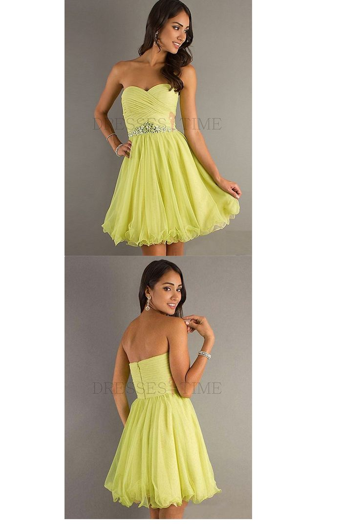 Classic A-Line Sweetheart Empire Waist Ruched Short/Mini Organza Homecoming dress,beading party dress