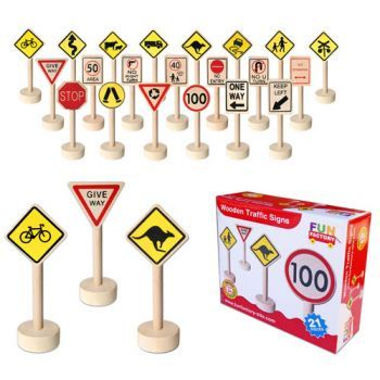 Fun Factory Wooden Traffic Signs - Stop!, give way!, caution kangaroos!, one-way!... Watch imagination and play happen when children are handed this traffic sign set.  Will they build a roadway, add them to the train set or include them in other areas of play.  While out and about see if you can spot the same traffic signs as the play ones.  Extend the experience by taking a photo and including them in the play.  Ages 3+