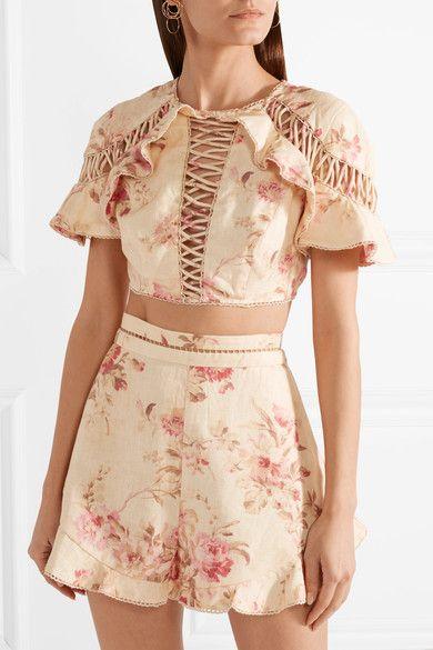 cffd5f7a08 Zimmermann - Corsair Flutter Open-back Crochet-trimmed Floral-print Linen  Top - Beige