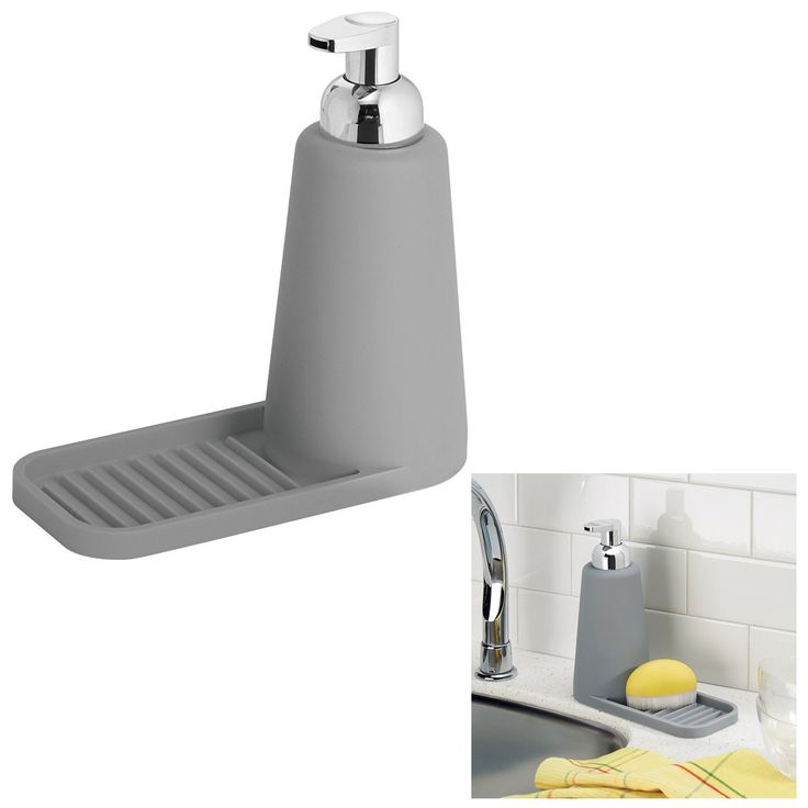 InterDesign 63983 Lineo Gray Foaming Soap Pump and Tray Kitchen Sink Accessory…