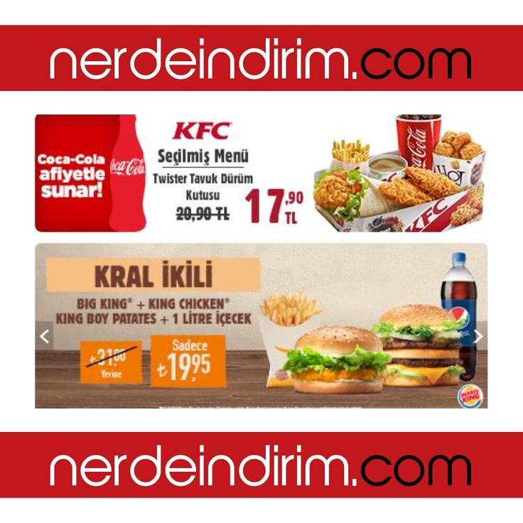 🍗🍔🍖 Acıktın Biliyoruz Bu Fırsat Kaçmaz 🤗 Burger King Kral İkili Süper Hamburger Menü sadece 19.95 TL -BİTMEDİ - KFC Tavuk Dürüm Menü 17.90 TL Hemen Tıkla Alışverişe Başla 👉🏻 http://www.nerdeindirim.com/tavuk-menu-hamburger-menu-siparis-2-hamburger-patates-1-lt-kola-19-95-tl-urun5641.html  #yemeksepeti #kfc #burgerking #tavuk #chicken #hamburger #cocacola #patates #fastfood