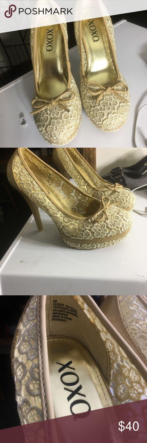 Lace Cream high heels  worn 1x.  Size 9 Super cute size 9 lace cream high heels worn only once. XOXO Shoes Heels