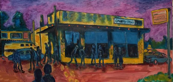 """Painting of """"The Drumstick"""" a 80's club in Lincoln, NE.  Oil  2017"""