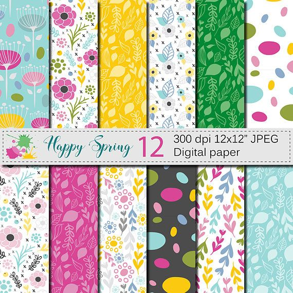 Seamless Bright Spring Digital Paper Happy Spring