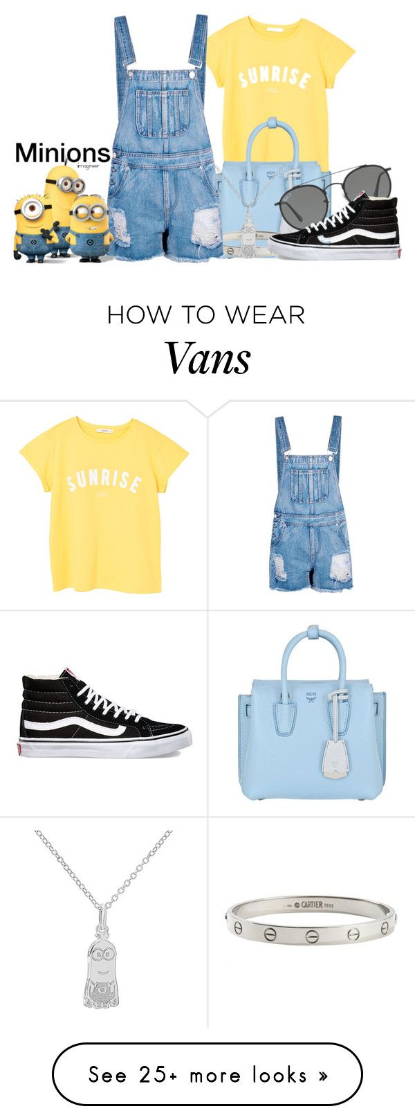 """Minions (Despicable Me)"" by claucrasoda on Polyvore featuring MANGO, MCM, Cartier, Boohoo, Ray-Ban, Vans and slogantshirts"
