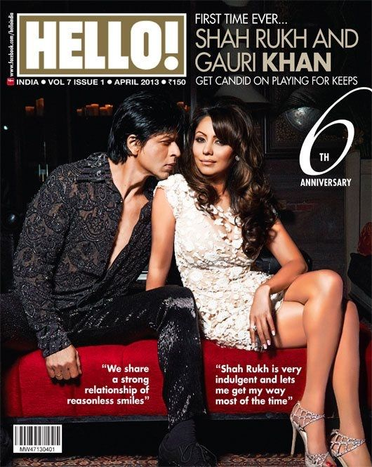 Shahrukh and Gauri Khan on The Cover of Hello Magazine - April 2013.