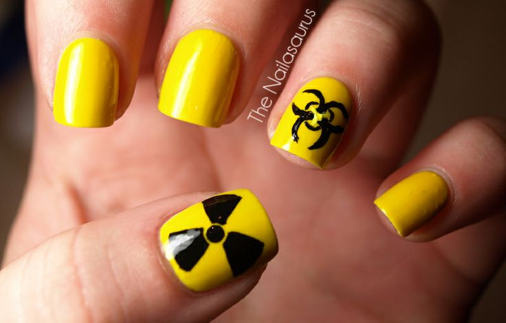 Radioactivity/Biohazard Nails. I'm going to do these nails if I ever have to have RAI again. Wish I had done these the past 5 years.