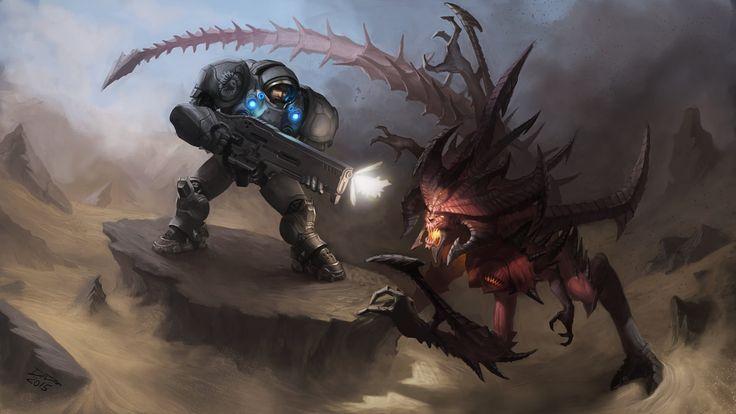 Raynor vs Diablo , Douglas Deri on ArtStation at https://www.artstation.com/artwork/raynor-vs-diablo
