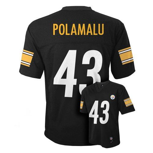 Troy Polamalu Pittsburgh Steelers Black NFL Youth 2014-15 Season Mid-tier Jersey  https://allstarsportsfan.com/product/troy-polamalu-pittsburgh-steelers-black-nfl-youth-2014-15-season-mid-tier-jersey/  Officially licensed by NFL 100% Polyester Soft Feel Fabric Silk (Screen) Printed letters, numbers and logos