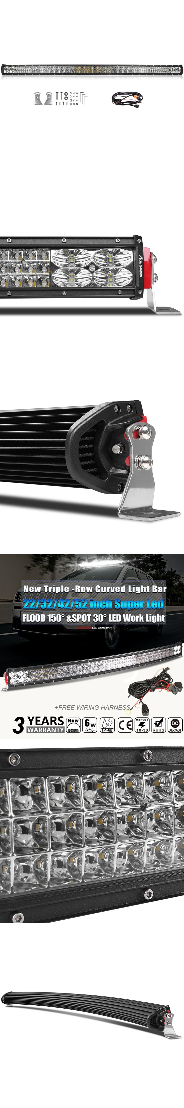 Autofeel Super Bright 3-row Curved Led Light Bar 22/32/42/52 inch for Pickup Jeep Truck 12v 24v cars Combo Beam Led work Light