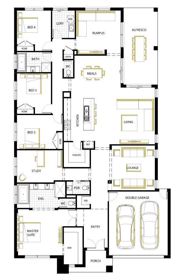 Plano de casa moderna de una planta: