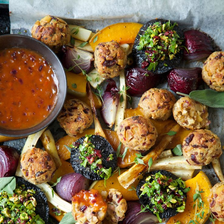 Vegan Roast (or Vegetarian) with Cranberry, Sage and Cashew Nut Stuffing Balls and Tomato Onion Gravy By Nadia Lim