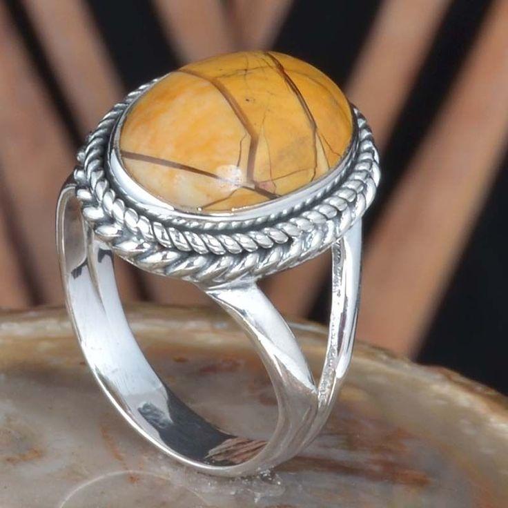 925 SOLID STERLING SILVER SIMPLE BRACETED MOOKAITE RING 4.68g DJR11480 SZ-6 #Handmade #Ring