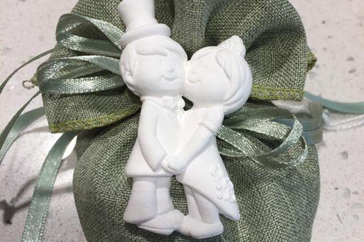 www.elisa-regali.it  sacchetto cotone con gesso profumatore sposi. Bomboniera per matrimonio o anniversario