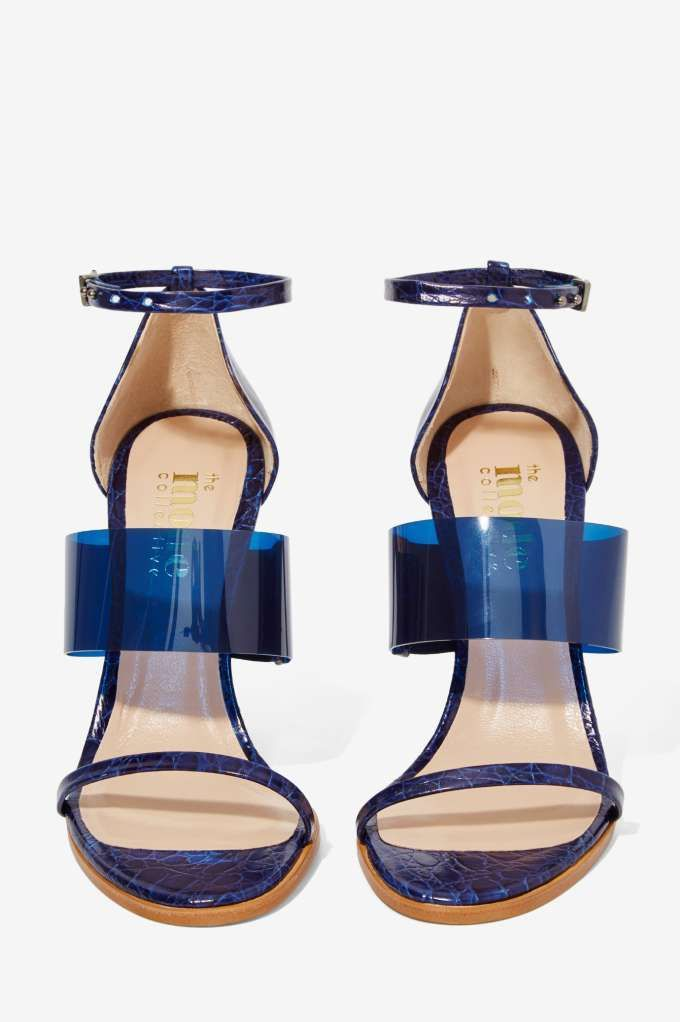 The Mode Collective Triple Threat Leather Heel - Navy Vinyl - Open Toe | Shoes