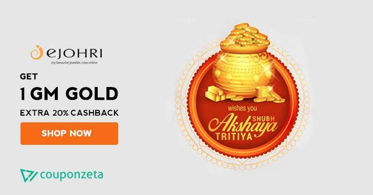 💎Subh Akshaya Tritiya Offer @e_johri Ejohri  Get a 10gms Silver/Gold Coin Free + Extra  20% Cashback On Gold & Diamond Jewellery 💍 #jewelry #couponzeta #womenaccessories #pendants #necklace #coupons #promocode