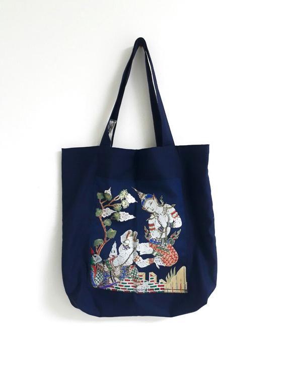 Waves Totebag Green Yoga Bag Blue Cotton Asia Design
