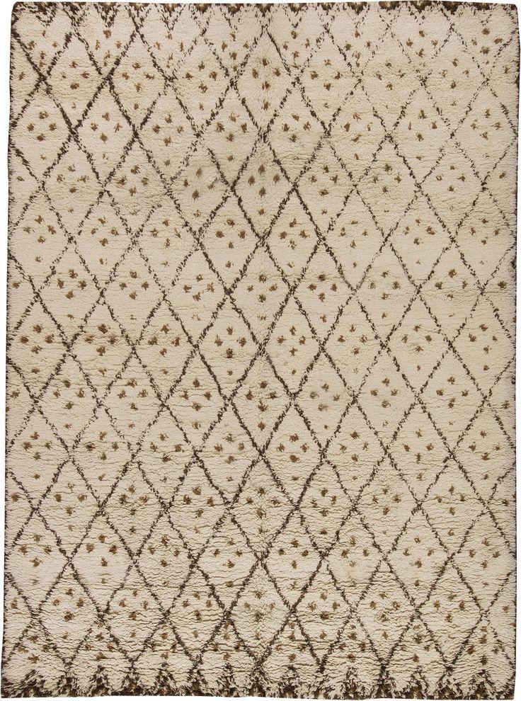 Modern Rugs: Modern Moroccan rug in beige, modern style perfect for modern interior decor, modern living room, geometric pattern rug