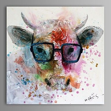 Oil Painting Modern Abstract Cow Hand Painted Canvas with Stretched Frame - USD $ 79.99... teen bedroom