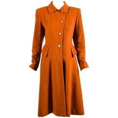 Vintage Hermes Burnt Orange Cashmere Flared Long Overcoat Size 36