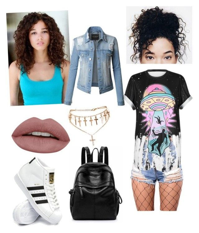 """life in death"" by queen-olmos on Polyvore featuring WithChic, adidas and LE3NO"