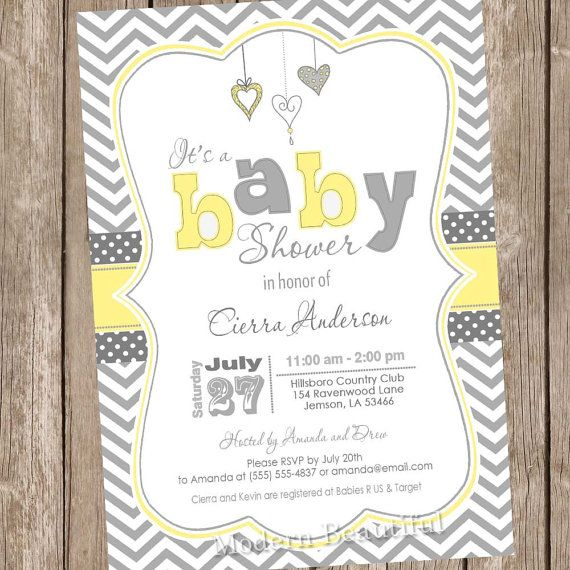 Neutral Yellow and Grey baby shower invitation, chevron invitation, boy baby shower invitation, hearts, typography, printable, digital file on Etsy, $13.00