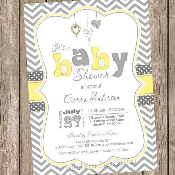 neutral yellow and grey baby shower invitation chevron invitation baby shower invitation hearts typography printable invitation hyg01