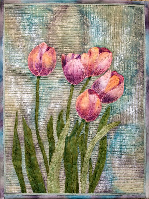 Hand painted fabric art quilt  Tulips by ArtQuiltsbyGretchen, $175.00.  background quilting