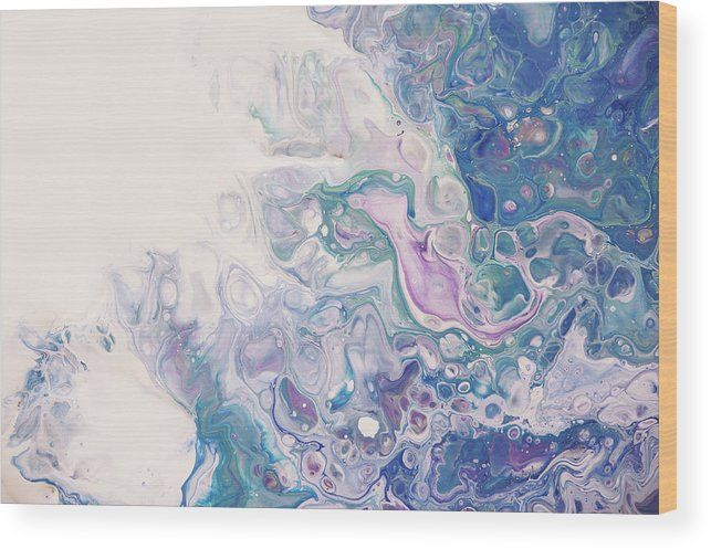 Underwater Worlds Fragment 5.  Abstract Fluid Acrylic Painting Wood Print by Jenny Rainbow.  All wood prints are professionally printed, packaged, and shipped within 3 - 4 business days and delivered ready-to-hang on your wall. Choose from multiple sizes and mounting options.