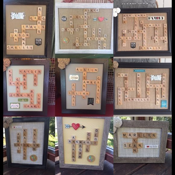 """Personalized rustic gifts FOR SALE-- Family scrabble 8X10 frames: $35 Family scrabble 11X14 frames: $45 Wall/Standing 9"""" tall Letters: $25 Horseshoes, 4-5"""" tall/wide: $20 Anniversary/new home/teacher/ dry erase 5X7 frames: $20 Button Art 8X10 Frames: $30 Penny Balloon 8X10 Frames: $30  These make amazing gifts for Fathers Day, Graduation, Christmas, Birthdays, Children Decor, Baby Showers, Bridal Showers, Anniversary or Wedding Gifts, Wedding Decor, Gifts for Him, Gifts for Her, etc. Other"""