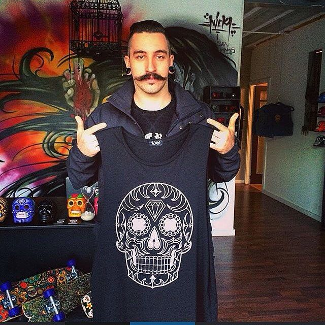 Eaven Dall from hardcore band, In Hearts Wake getting some fresh K Loco threads from the shop in Byron Bay.
