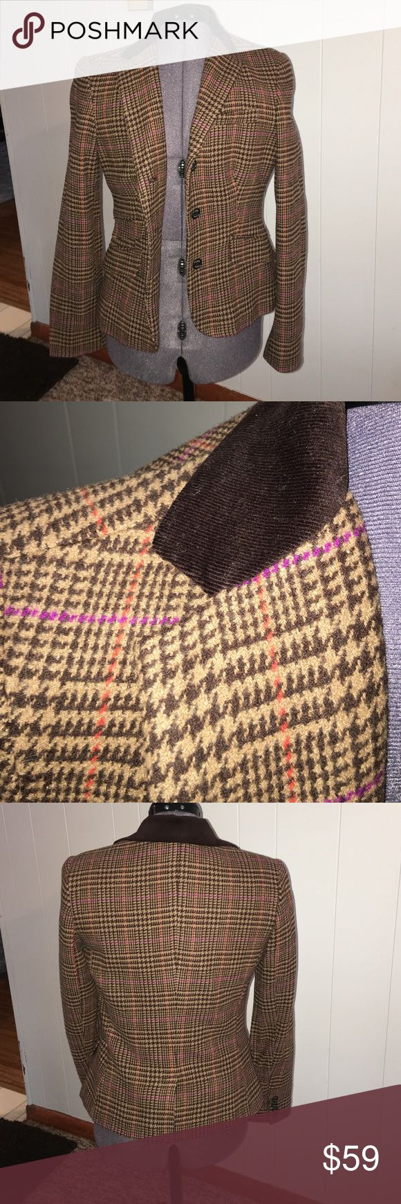 NWOT Chaps Brown Blazer Never worn blazer in brown houndstooth plaid print, with some orange and purple detailing. Has a corduroy collar to amp the old fashioned look. Still has the bottom sewn together on the back. No trades. Chaps Jackets & Coats Blazers