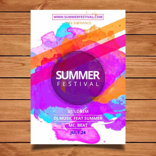 Watercolor Summer Festival Flyer Event Poster Design Festival