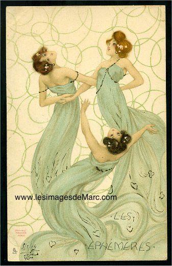 """Raphaël KIRCHNER (1876-1917) publie de superbes cartes postales, dont voici un exemple extrait de la série """"Les Ephémères"""". Original postcard. www.lesimagesdemarc.com"""