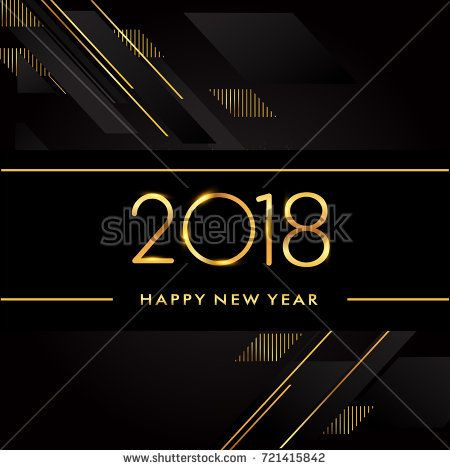 Happy New Year 2018 text design gold colored isolated on black background, vector elements for calendar and greeting card.