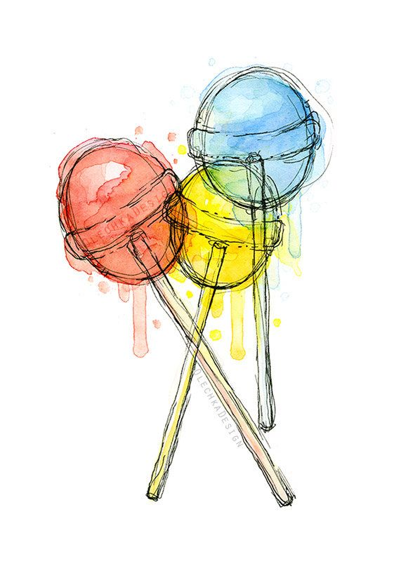 Lollipops Watercolor Art Print Candy Sweets Food Illustration Colorful Decor