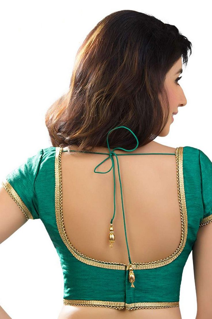Sea #green designer wear raw #silk opulent #blouse with u neck -BL753