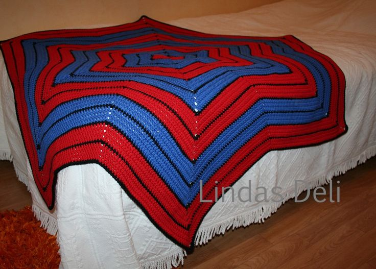 Virkad Spiderman-filt.