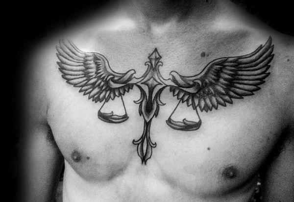 Libra Horoscope Tattoo On Chest For Men photo - 2
