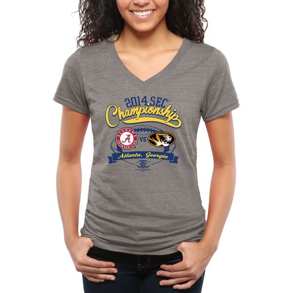 Missouri Tigers vs. Alabama Crimson Tide Women's SEC Championship Dueling Tri-Blend V-Neck T-Shirt - Ash - $35.00